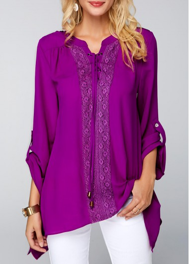 Lace Panel Roll Tab Sleeve Purple Blouse | modlily.com - USD .