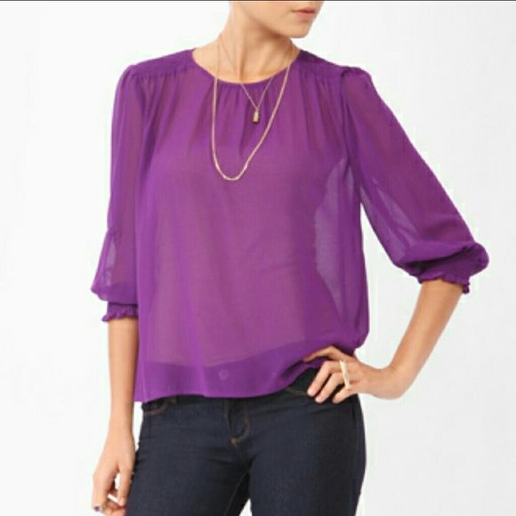 Forever 21 Sheer Purple Blouse | Awesome blouse, Purple blouse .