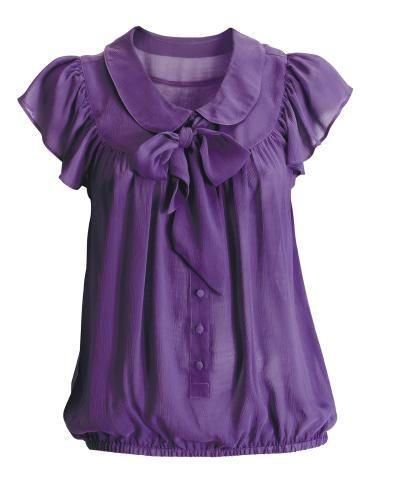 purple silk blouse | Tops modernos, Blusas femininas, Blus