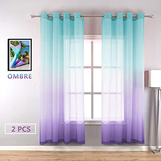 Amazon.com: Lilac Turquoise Curtains for Bedroom Girls Room Decor .