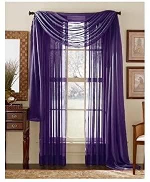 Amazon.com: WPM/AHF 3 Piece Dark Purple Sheer Voile Curtain Panel .