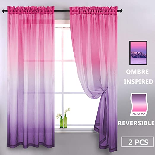 Amazon.com: Purple and Pink Sheer Curtains for Girls Bedroom Room .