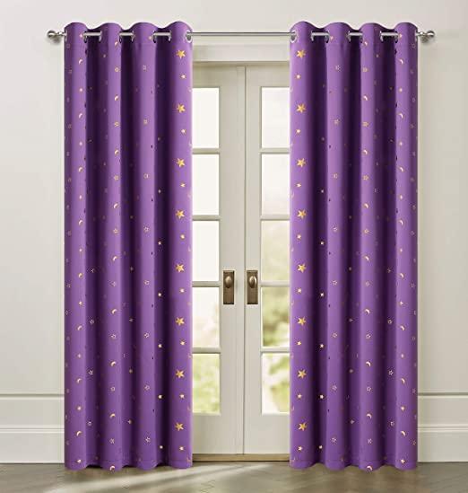 Amazon.com: Purple Blackout Stars Curtains Cute Twinkle Gold Star .