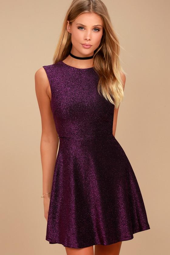 Into the Night Purple Skater Dress - Purple Dresses for Tee