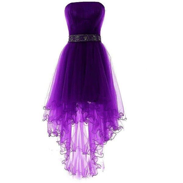 Fanciest Women's Strapless Beaded High Low Prom Dresses Short .