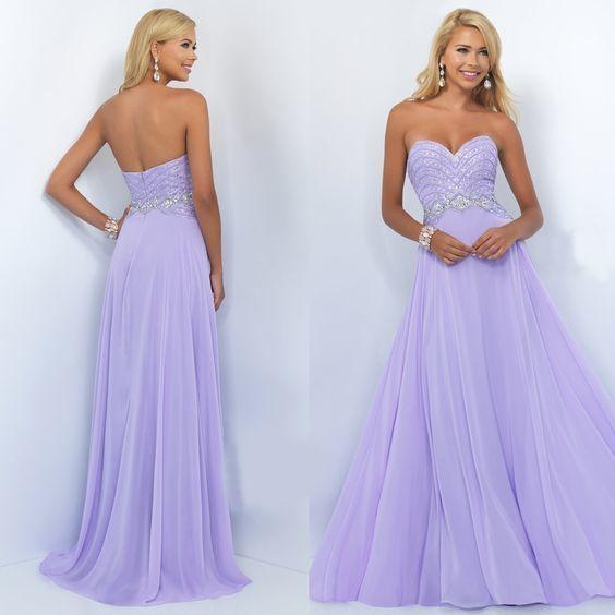 Long Strapless Sweetheart Chiffon Prom Dress, Light | la