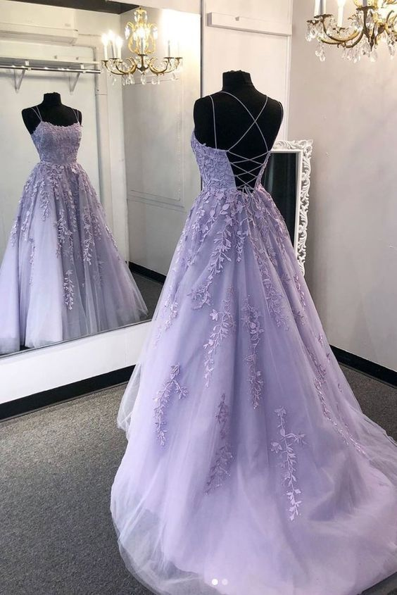 Purple tulle lace long prom dress lace tulle | moonlig