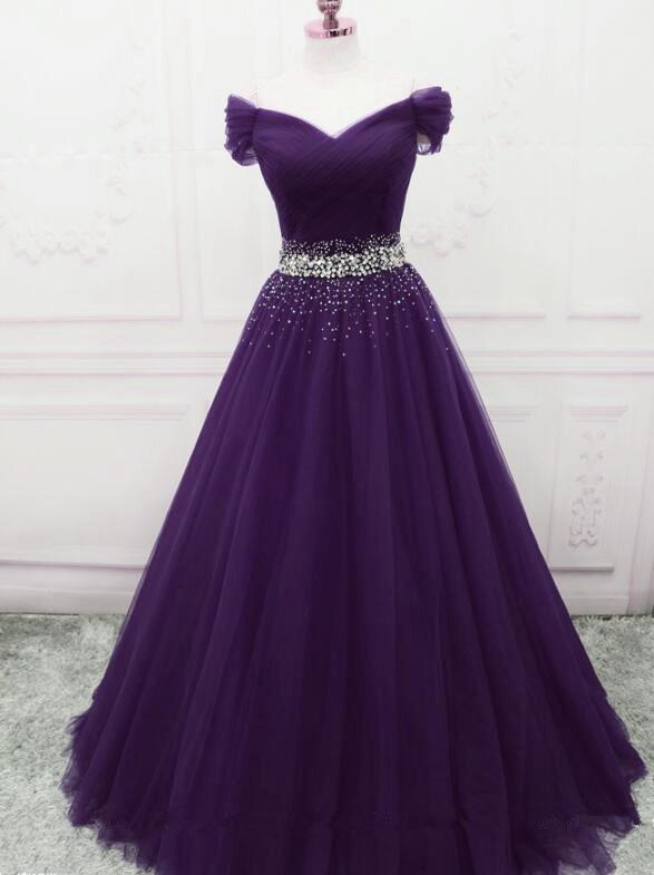 Dark Purple New Style Long Prom Dresses, Beautiful Junior Prom .