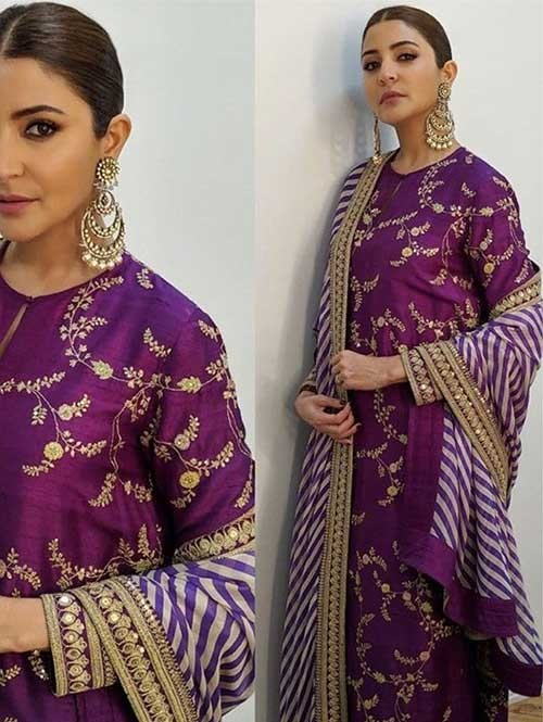 Anushka Sharma in Purple Colored Beautiful Embroidered Long Salwar .