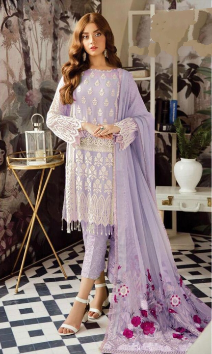Buy Trendy Purple Colored Georgette With Embroidered Sequence Work .