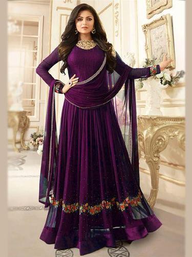 Georgette Sparky Purple Embroidered Anarkali Salwar Suit, Rs 1599 .