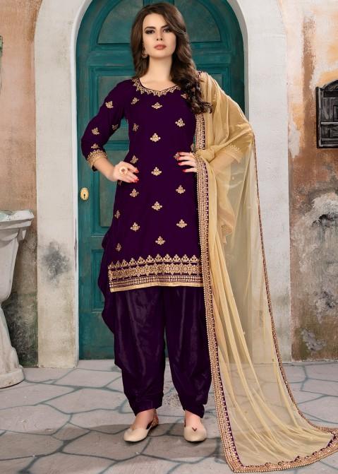 Purple Velvet Embroidered Salwar Suit Raksha Bandhan Collection .