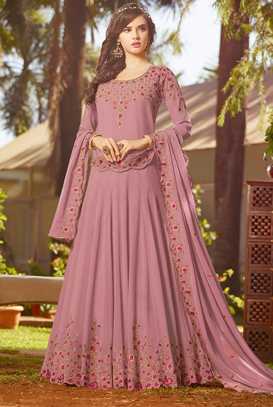 Buy Embroidered Indian Georgette Salwar Suit in Light Purp