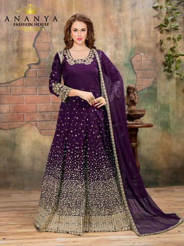 Printed Classic Dark Purple Taffeta Silk-Net Salwar Kameez AFS138 .