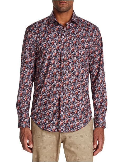 Tallia Men's Slim-Fit Performance Stretch Roses Long Sleeve Shirt .