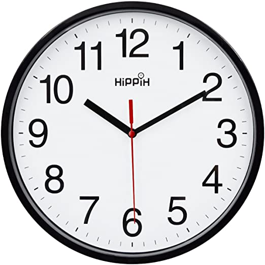 Amazon.com: HIPPIH Black Wall Clock Silent Non Ticking Quality .