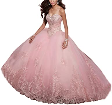 SweetBei Women's Lace Appliques Sweet 15 Ball Gowns Tulle .