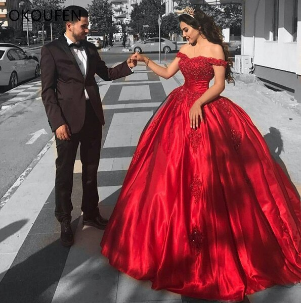 Red Ball Gown Quinceanera Dresses Off the Shoulder Saudi Arabic .