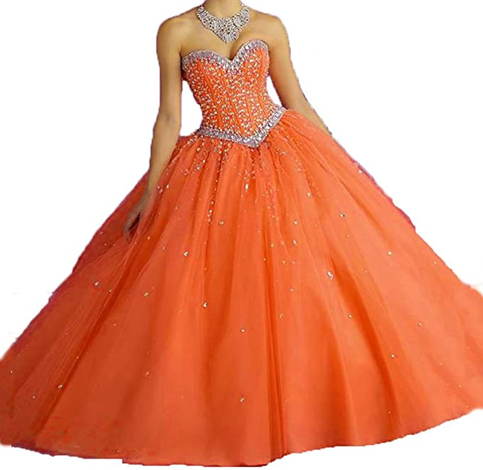 Dearta Women's Sequins Crystals Ball Gown Quinceanera Dresses .