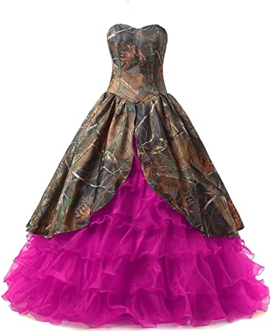 ANGELA Women's Ruffles Long Camo Quinceanera Dresses Plus Size .