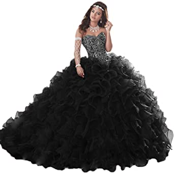APXPF Women's Organza Ruffle Quinceanera Dresses Prom Ball Gowns .