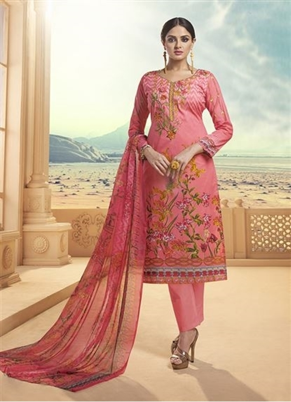 We Make Shopping Easy Pink Cambric Cotton Printed Daily Wear New .