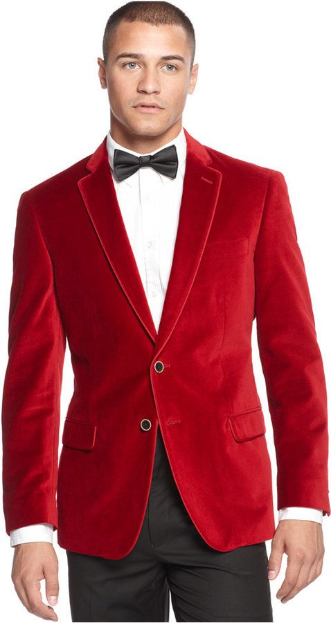 This red velvet blazer is very festive; perfect for the holidays .