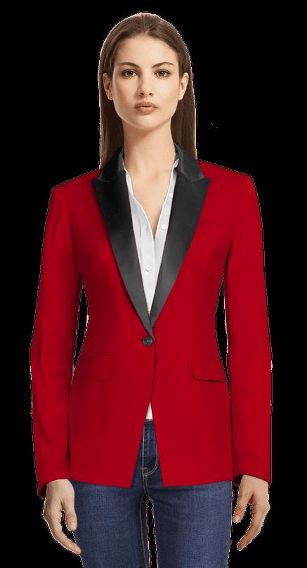Red one-button Tuxedo Blazer with black lapels 149€ | Sumissu