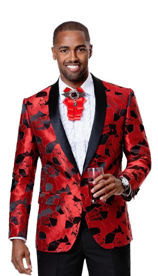 EJ Samuel Fashionable Blazers Men's Red Black Shiny Pattern J