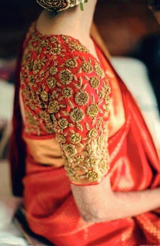 22. Red Pattu Saree Blouse With Golden Embroidery (With images .