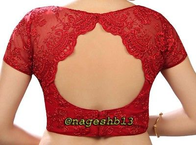 Readymade Saree Blouse, Designer Sari Blouse, Red Net Blouse,Choli .