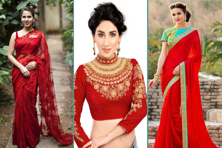 20 Gorgeous Pics of Red Saree Blouse Desig