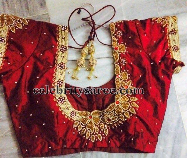 Red Blouse with Floral Maggam Work | Red blouses, Blouse patterns .