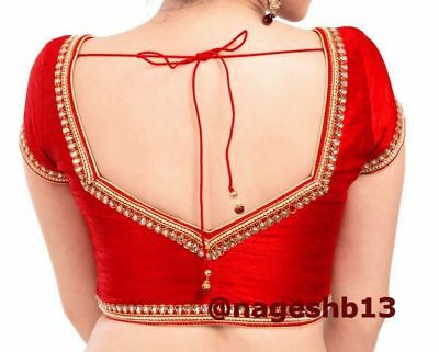 Indian Sari Blouse,Readymade Saree Blouse,Designer Red Kundan work .