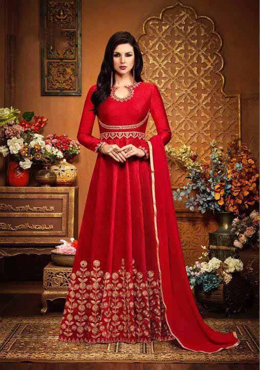 Striking Red Silk Latest Salwar Suit Design – Indian Dress