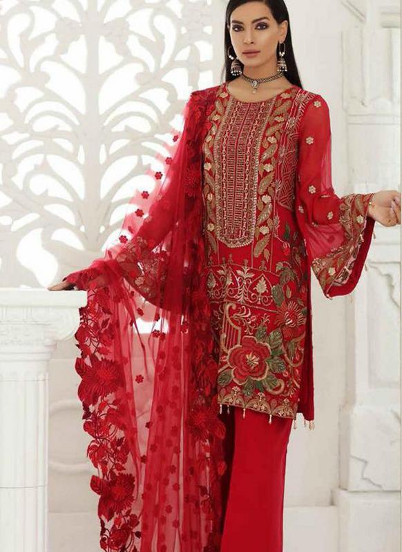 SareeBuzz Red Georgette Designer Pakistani Suit - Saree | Salwar .
