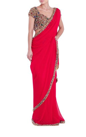 Red Saree & Jewelled Blouse (With images) | Plain saree with heavy .