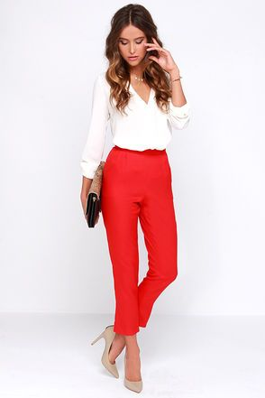 Trouser We Go Red High-Waisted Pants (With images)   Red high .
