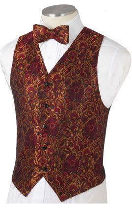Men's Black, Gold, and Red Floral Brocade | Christmas vest, Gold .