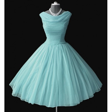 Retro dress, light blue, made of chiff