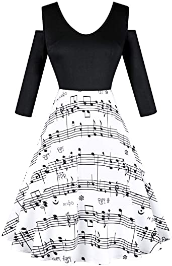 Women's Music Note Dress 1950s Retro Vintage Cocktail Party Swing .