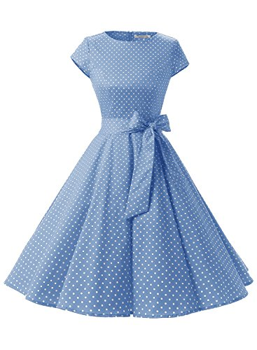 Women Vintage 1950s Retro Rockabilly Prom Dresses Cap-Sleeve - Buy .