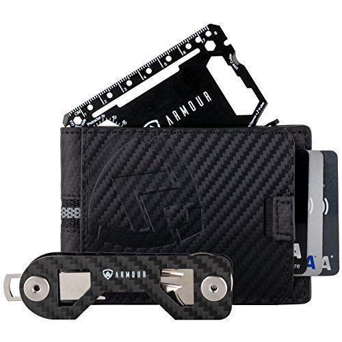 Armour RFID Wallets For Men - Slim Minimalist Carbon Fiber Leather .