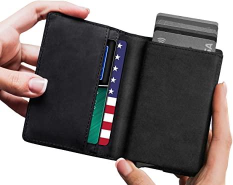 Leather RFID Minimalist Wallet - Wallets for Men with Slim Pop-up .