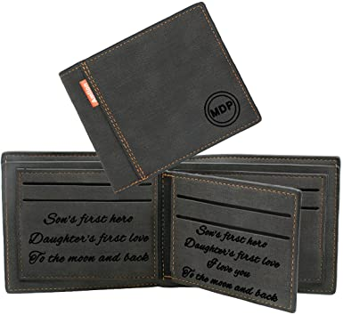 Custom Engraved Wallet, Personalized Photo RFID Wallets for Men .