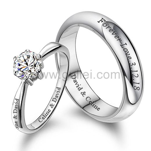 Gullei.com Customized Engraved Couple Engagement Rings Set for Two .