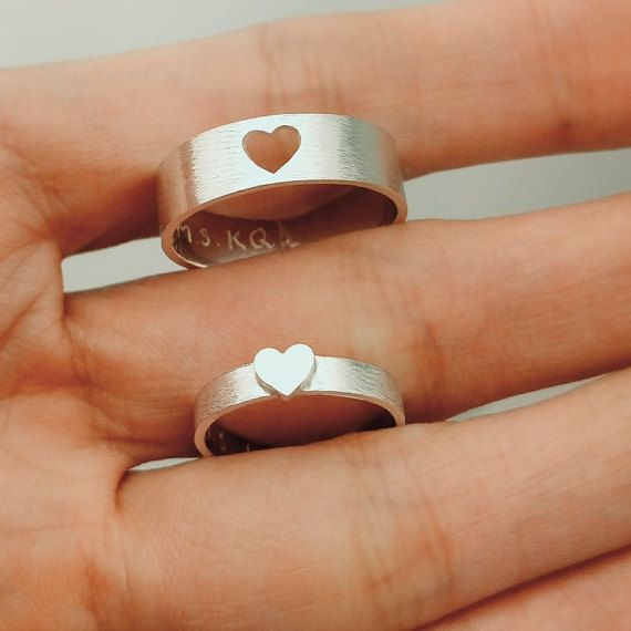 Wave Matching Rings For Couples, Promise Rings, His And Hers .