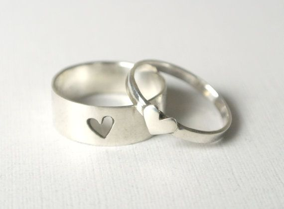 Tiny Hearts Promise Ring Set - Couple Rings, Couples Jewelry for .