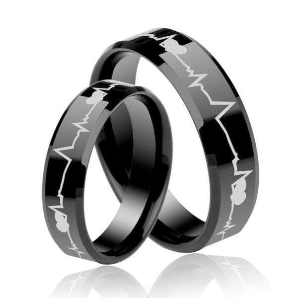 Couples Rings For Sale,Italo Heartbeat Design Titanium Steel .
