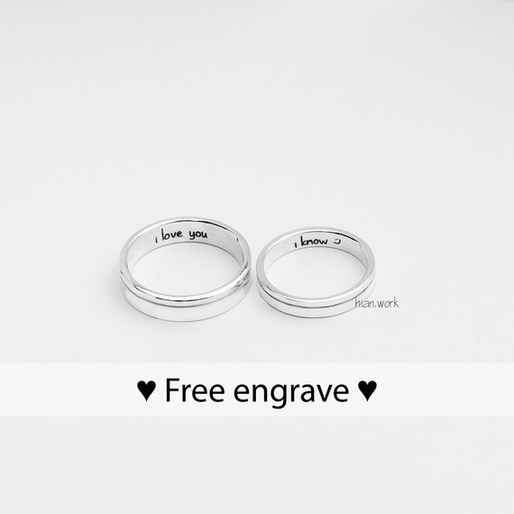 Line Fine Silver Couple Rings | Promise Rings | Couples Ring .